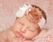 Blushing Pink & Neutral-- Shabby Chic-- DOUBLE Rosette Rhinestone Headband--Prima Ballerina, Simply Adorable