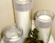 Set of 3 Silver Rhinestone Wrap Glass Cylinder Vases and Pillar Candles: Wedding or Special Event