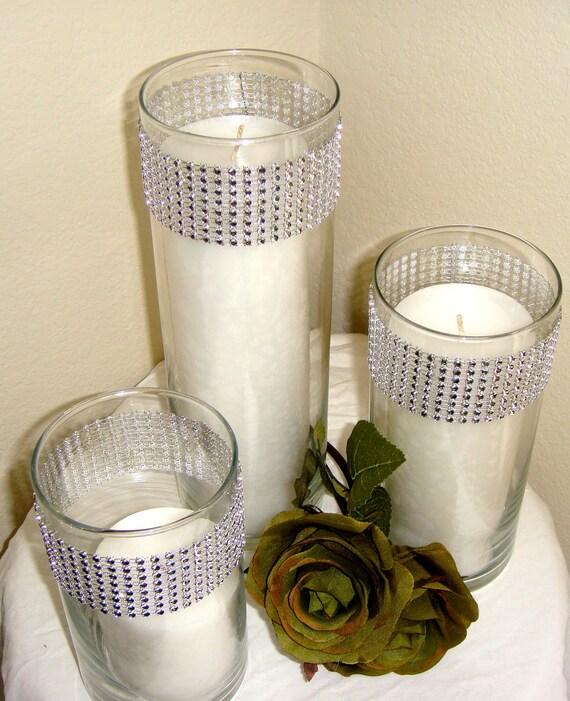 Set Of 3 Silver Rhinestone Wrap Glass Cylinder Vases And By Modmv