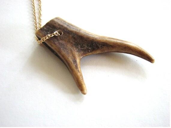 forked antler tip necklace