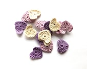 Crocheted hearts - small applique, embellishments, scrapbooking, lavender wedding decorations, favors /set of 15/ - eljuks
