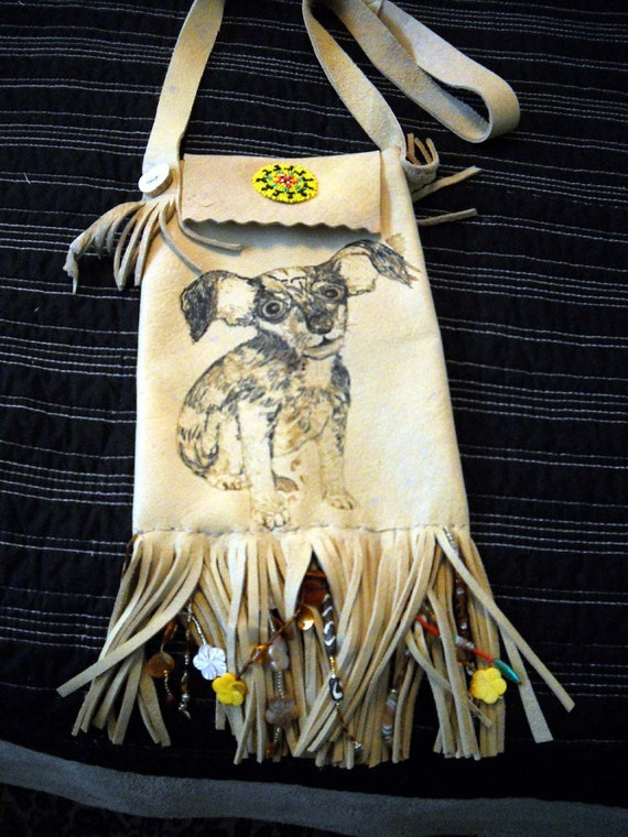 Chihuahua Dog Fringed Leather Purse or Bag Deer Horn Buttons Beaded
