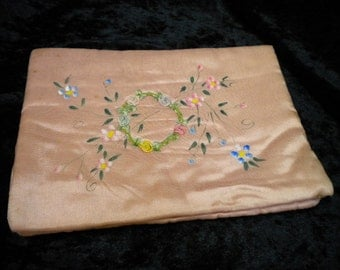x Antique Peach Ribbonwork Hanky Folder Hand Painted (FF235)