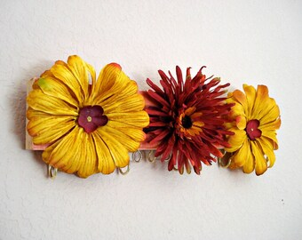 Jewelry display - Red and Yellow Mums - perfect stocking stuffer for your teen