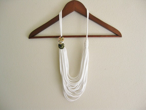 Cotton Necklace made from White Jersey T Shirt . Scarf Necklace . Indie Boho Chic . Handmade Vintage Inspired