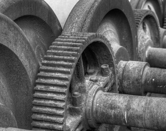 Baltimore Art, Gears and Wheels,  Fine Art Black and White Photograph