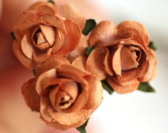 Brown Rose, Bridal Hair Accessories, Wedding Hair Flower, Bridesmaid Hair Accessories, Brown Flower, Brass Bobby Pin - Set of 3