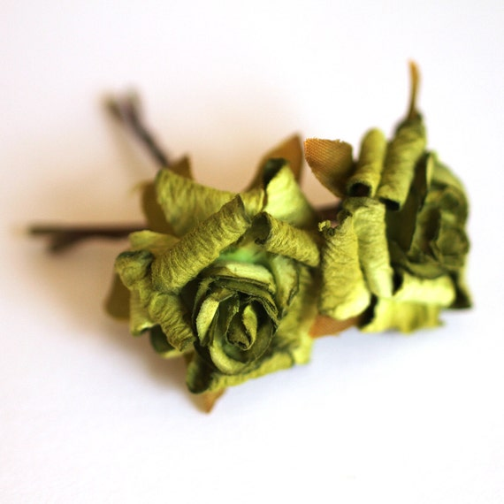 Woodland Rose, Bridal Hair Accessories, Wedding Hair Accessories, Bridesmaid Hair Flower, Green Hair Flower, Brass Bobby Pin Set of 2