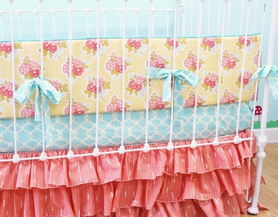 Items Similar To Baby Girl Crib Bedding Coral Aqua Yellow