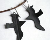 Sale Bird Earrings - bicycle inner tube jewelry - Seagull silhouettes
