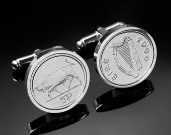 Coin Cufflinks - Handmade coins from Ireland - Irish Coins  - No longer in circulation-rare- 5p Bull and Harp cufflinks - 100% satisfaction