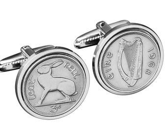 Handmade Irish Coin Cufflinks - Genuine Irish lucky coin  -Free silver gift box - Perfect gift from Ireland - 100% satisfaction