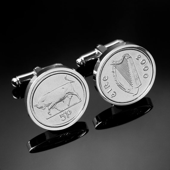Irish Coin Cufflinks -Ireland bull coins- Irish 5p coins-Perfect gift gift from Ireland