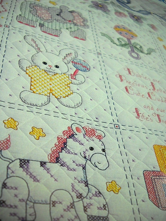 Bucilla Stamped Cross-Stitch Pre-Quilted Crib Cover Kit