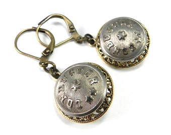 Railroad Earrings - Train Conductor Button in Steel and Brass - Mixed Metals - Historical Railroad Jewelry