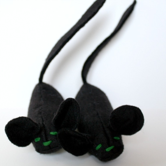 Reserved for DeerStopVintageHome Blackie the Mouse wool blend felt catnip cat toy