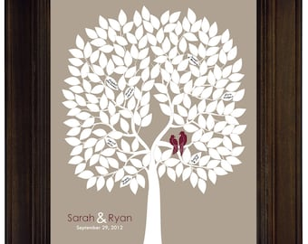 Wedding tree guest book alternative unique guestbook ideas love birds themed wedding guest book burgundy beige signature tree guest book art