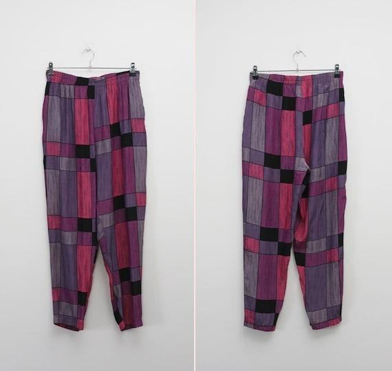 1980s vintage purple Mondrian Color block pants (M/L)