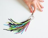 Colorful bag tassel, keychain, key fob, key chain, key charm, neon fluro multicolor with silver findings