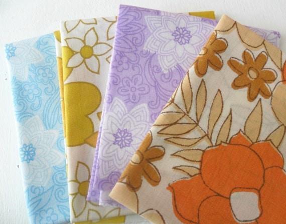 Vintage Fabric Fat Quarters Retro Bundle x 4
