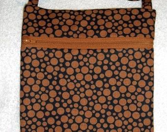 Handmade Black with brown dots  Sling Bag, Cross Body Bag, Hipster, Travel Bag