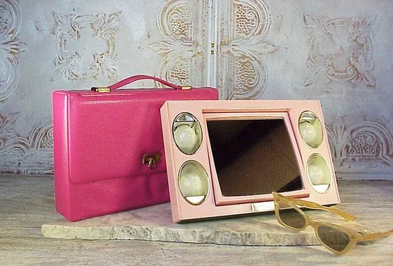 Vintage Pink Mid Century Modern Lighted Makeup Mirror