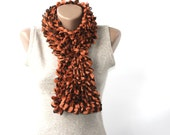 Halloween accessories Orange scarf brown knitted ruffle  vegan Fall accessories autumn fashion