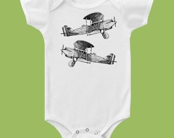 Vintage Airplanes, Boys One Piece Baby, Boys or Girls  T-Shirt by ChiTownBoutique.etsy
