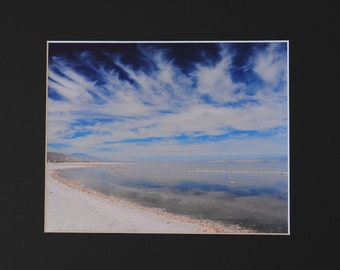 Landscape photo of skies and the sea - Rivers in the Skies, Salton Sea, CA 8x10 photo in 11x14 mat