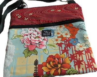 Oriental Flowers Pagoda Blue Orange Fabric iPad Kindle Nook  E Reader Sleeve Passport Travel Washable Messenger Bag  Sling Purse Kyoto