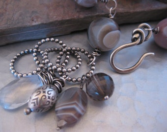Botswana Agate and Smokey Quartz Bracelet