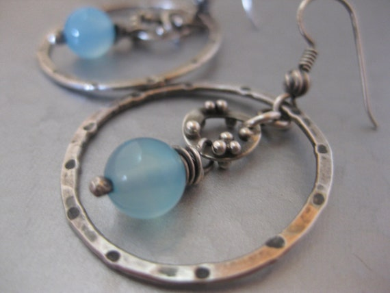 Hammered Hoop Earrings with Blue Chalcedony