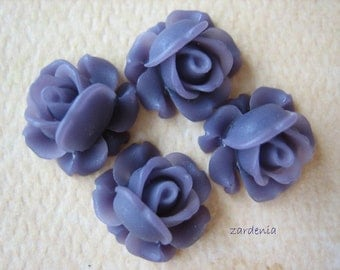 4PCS - Mini Cabbage Rose Flower Cabochons - 12mm - Resin - Violet - Findings by ZARDENIA