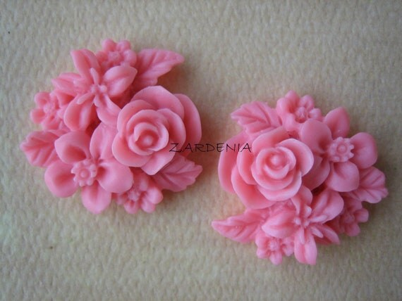 2PCS - Mixed Bouquet Cabochons - 25mm - Honeysuckle Pink - New Arrival - Cabochons by ZARDENIA