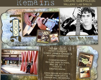 The Memory Remains Senior Graduation Folded LUXE Announcement No. 1- custom photo templates f