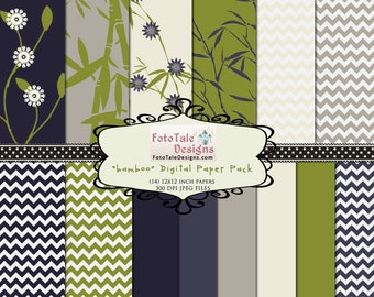 INSTANT DOWNLOAD - Bamboo Digital Paper Pack - 14 high resolution 12x12 digital papers
