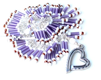 my patterned heart. bracelet. wire wrapped bugle beads. seed beads. heart clasp. purple matte bugle beaded bracelet