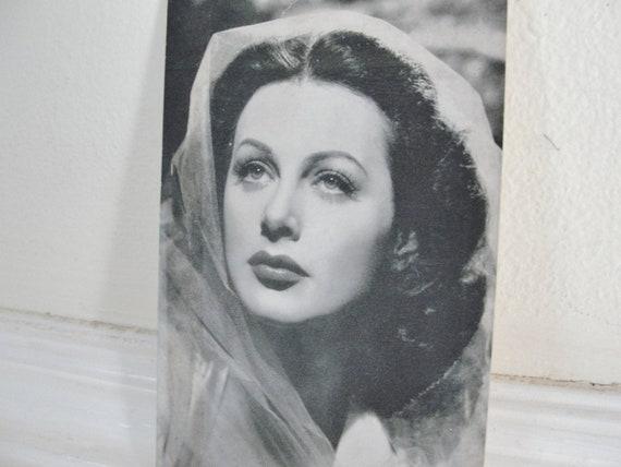 Vintage Movie Star Hedy Lamarr Photo Vintage 1940s Movie Star Glamour Girl Studio Photo Card