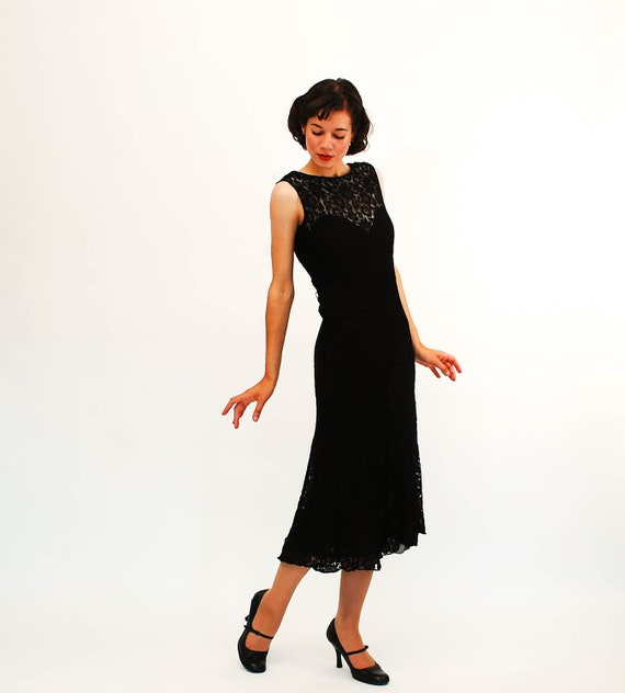 Vintage 1930s Lace Dress - 30s Bias Cut Dress - Black Lace