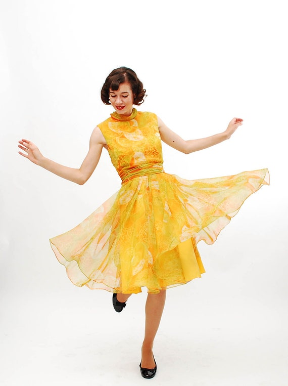 Vintage 1960s Cocktail Dress - 60s Party Dress - Citrus Watercolor