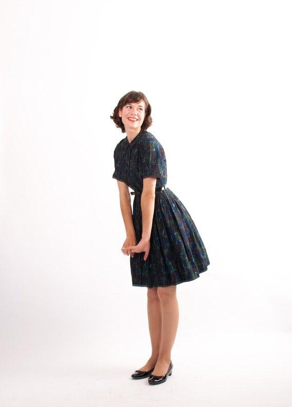 Vintage 1960s Dress 60s Shirtwaist Dress Indigo Tribal