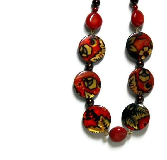 Red Coral Necklace with Printed Shell Beads -  Autumn Colors - Fall Jewelry - Yellow, Red, Brown - Earthy