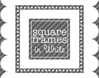 Digital Clip Art - Square Frames in White