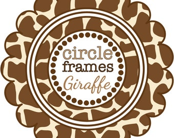 Digital Clip Art - Circle Frames in Giraffe Pattern