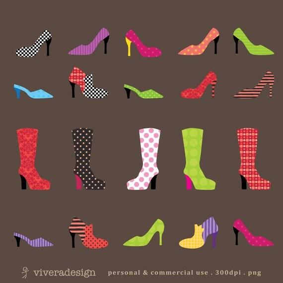Digital Clip Art - Patterned Shoes