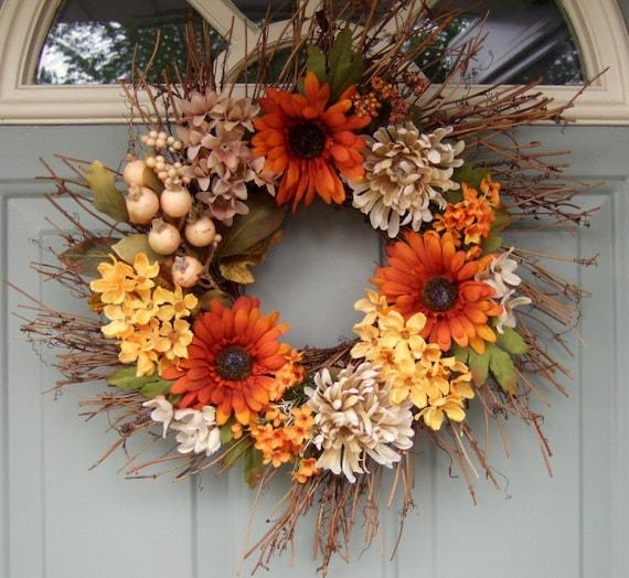 Summer Wreath - Fall Wreath - Sunflower Wreath - Wreath for Door