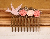 Hair Comb - Antique Pink Bird in Flight And Roses Hair Comb Antique Victorian Style