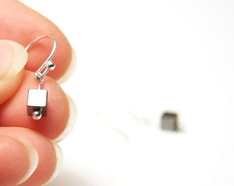 Modern Minimalist Earrings. Mini Cubism. Petite Hematite Cube Tiny. Sterling Silver. Handmade in Canada. Aries Birthday Gift. tag