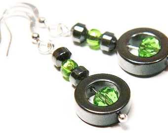 Summer Party Gift Minimal Sterling Silver Earrings St. Patrick's Day Gift Hematite Circle Green Peridot Swarovski Crystal Earrings