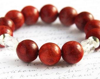 Red Sponge Coral Bracelet Rock Quartz Bracelet Large Beaded Bracelet Sterling Silver Stacking Bracelet Tribal Jewelry Bohemian Bangle